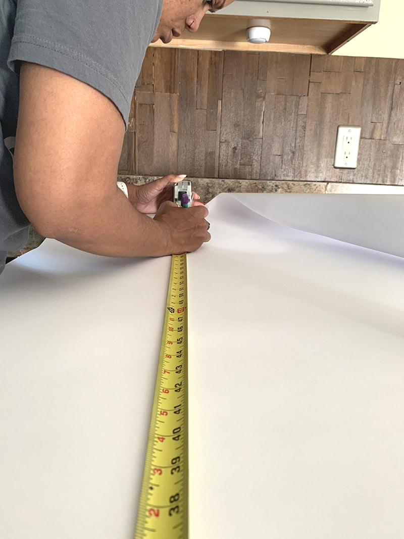 measuring the film for installation