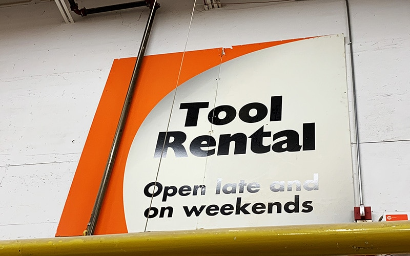 tool rental sign in home depot