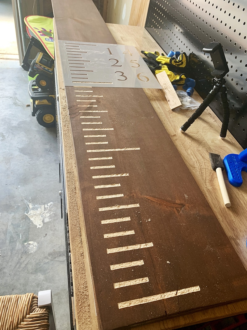 stencil growth chart to engrave ruler