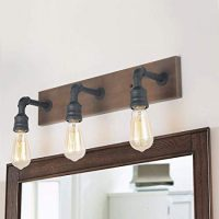 Farmhouse Wood and Water Pipe Wall Sconces
