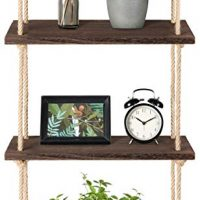 Mkono Wood Hanging Shelf Wall Swing Storage Shelves