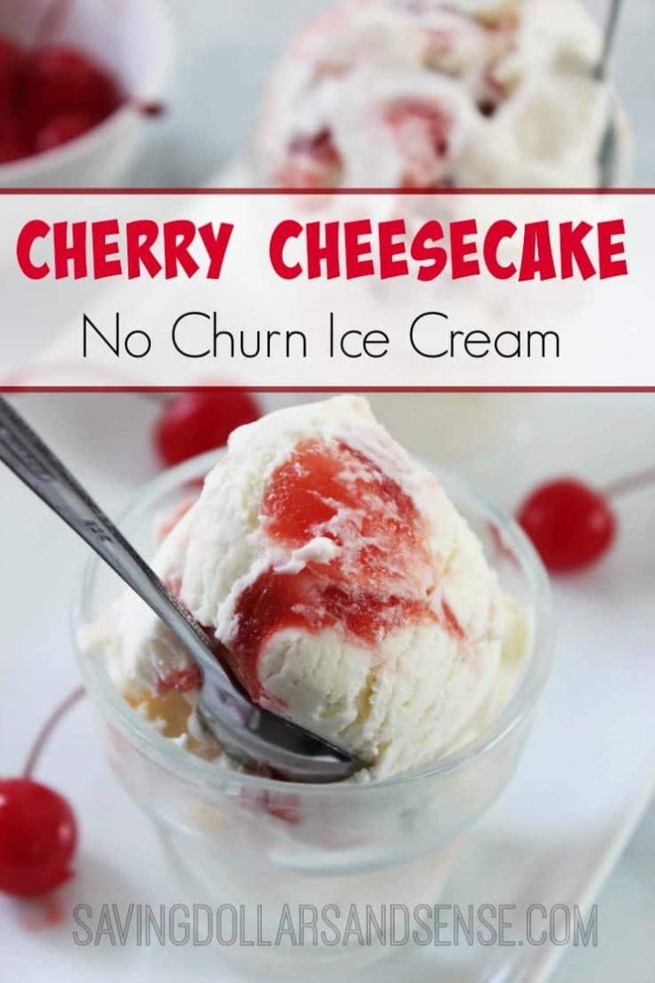 No Churn Cherry Cheesecake Ice Cream