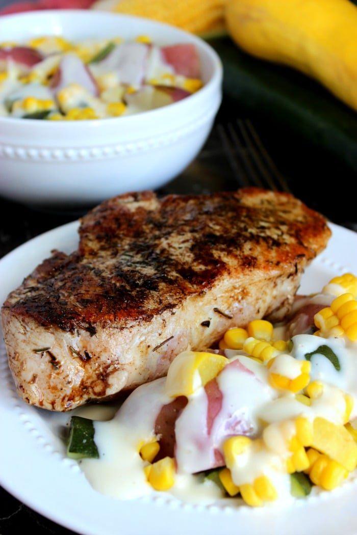 Pan-Seared Pork Chop & Garlic Parmesan Summer Vegetables