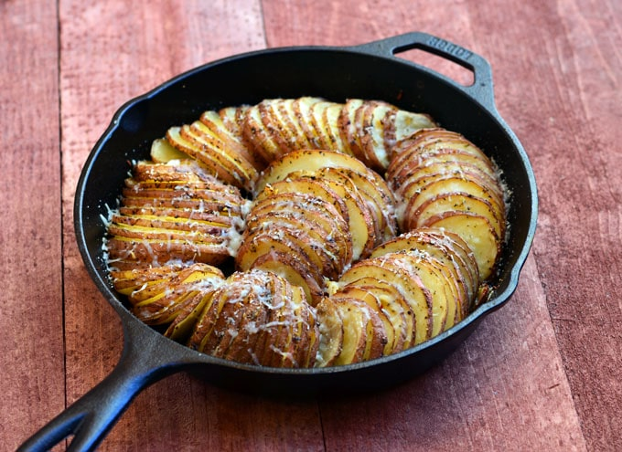 Hasselback Potatoes with Parmesan & Roasted Garlic