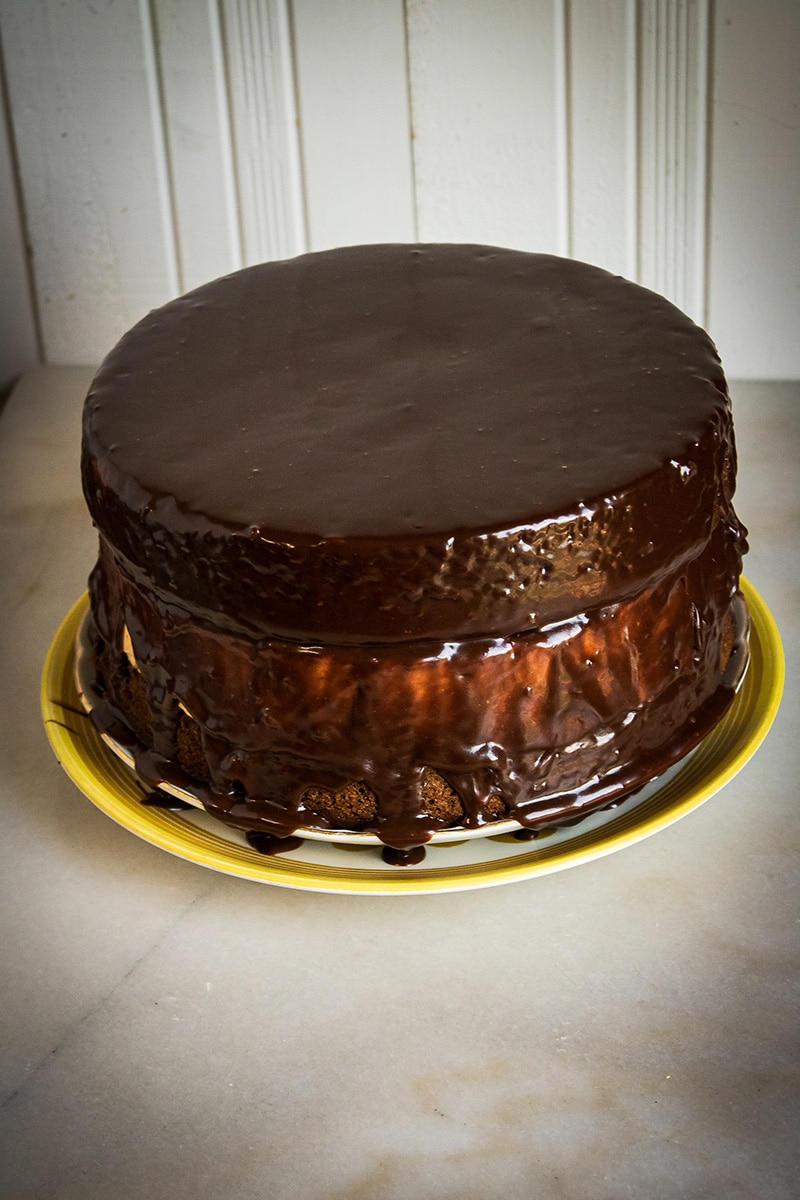 chocolate ganache over chocolate pumpkin layered cake