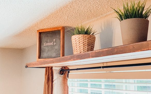 curtain rod shelf combo