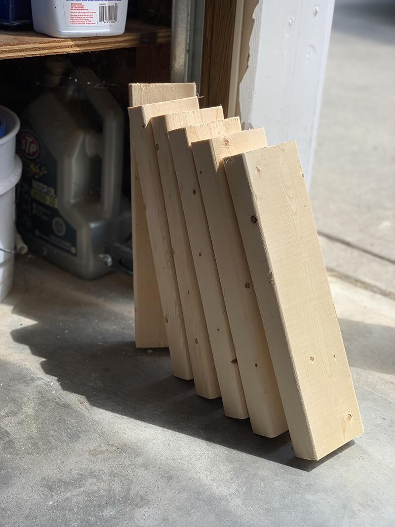 cut 2x4's for shelves