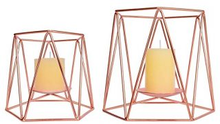 Rose Gold Metal Pillar Candle Holders Set