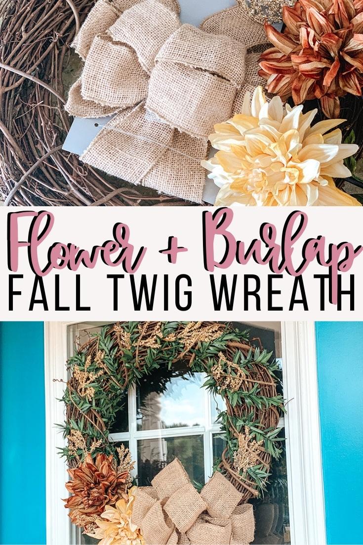 flower & burlap fall twig wreath tutorial