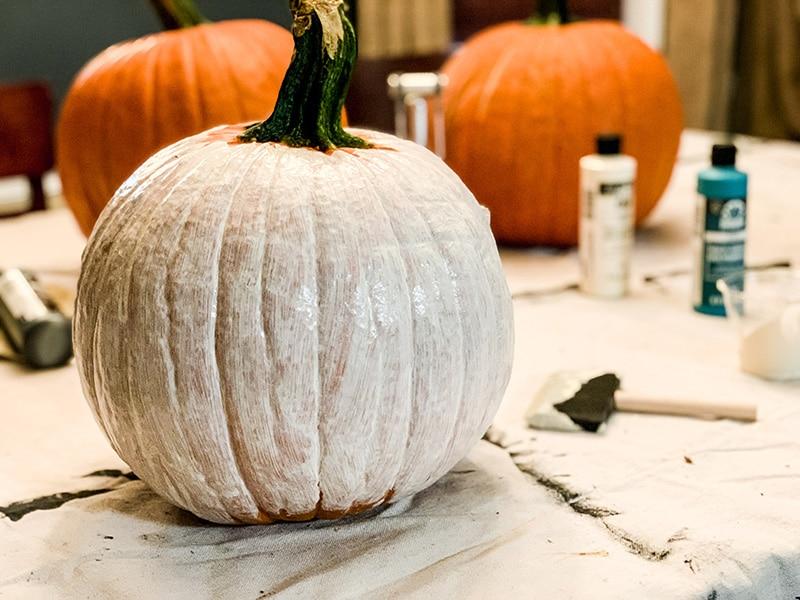 pumpkin after a first coat of paint