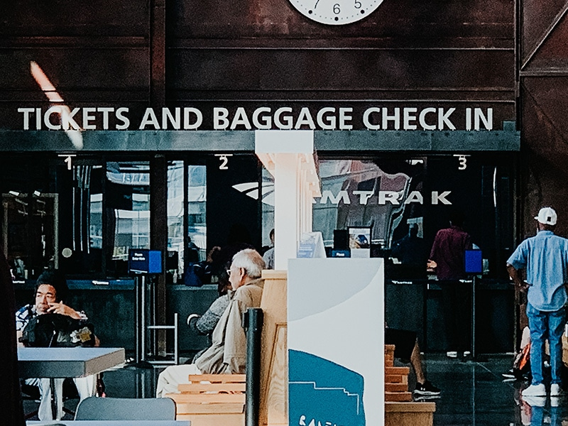ticket and baggage check in at raleigh union station