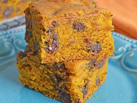 Pumpkin Chocolate Chip Blondies
