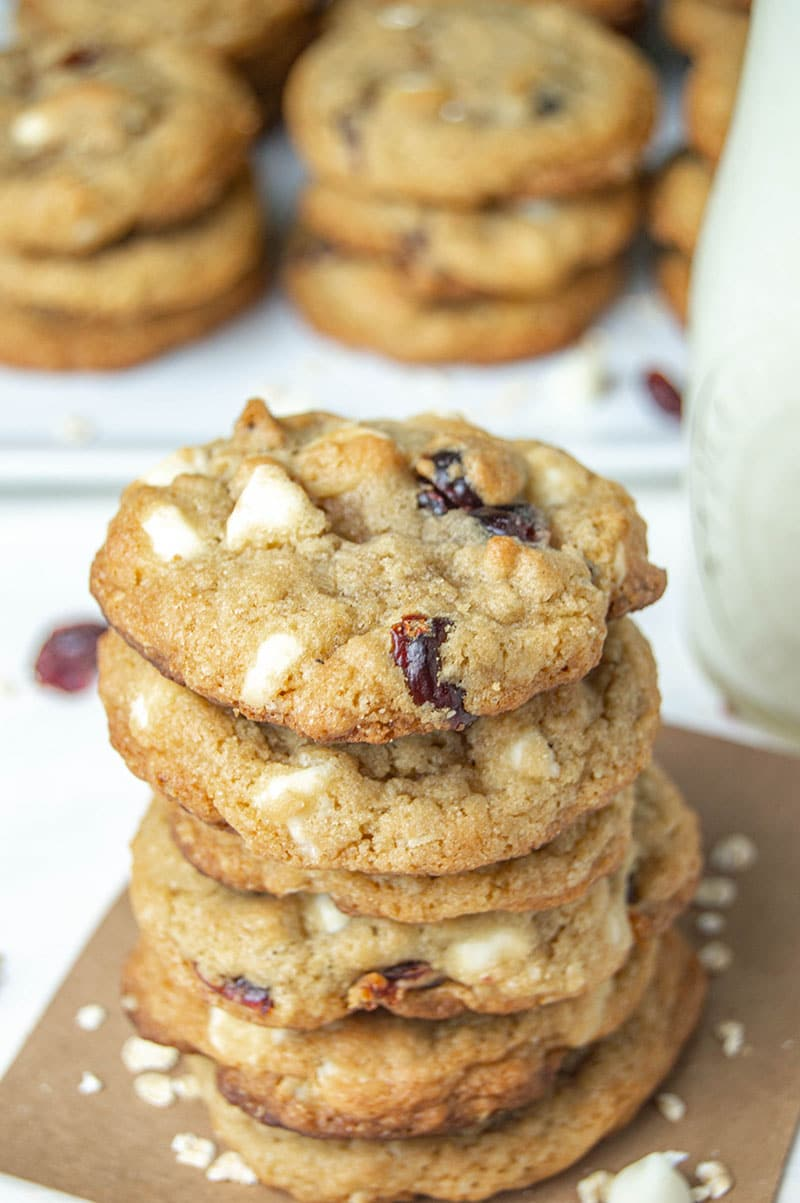 chewy white chocolate oatmeal cranberry cookies