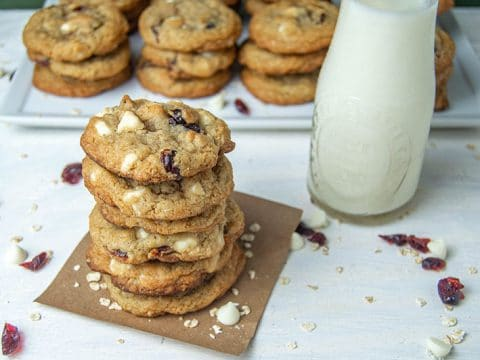 cranberry oatmeal cookies with milk