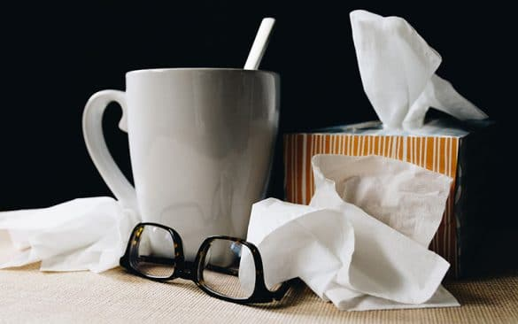 tissues cup and glass during germ season