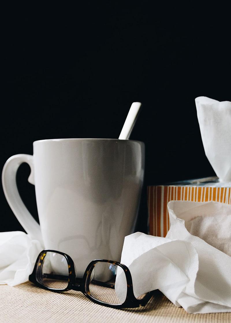 tea tissues and glasses