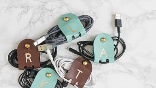 DIY Monogrammed Leather Cord Keepers