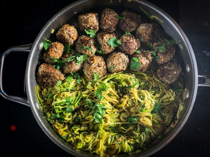 garlic butter meatballs and zoodles