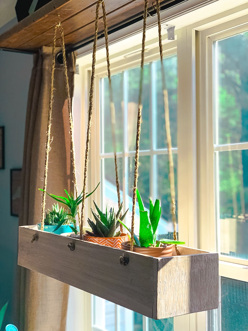 indoor wood planter box with window open