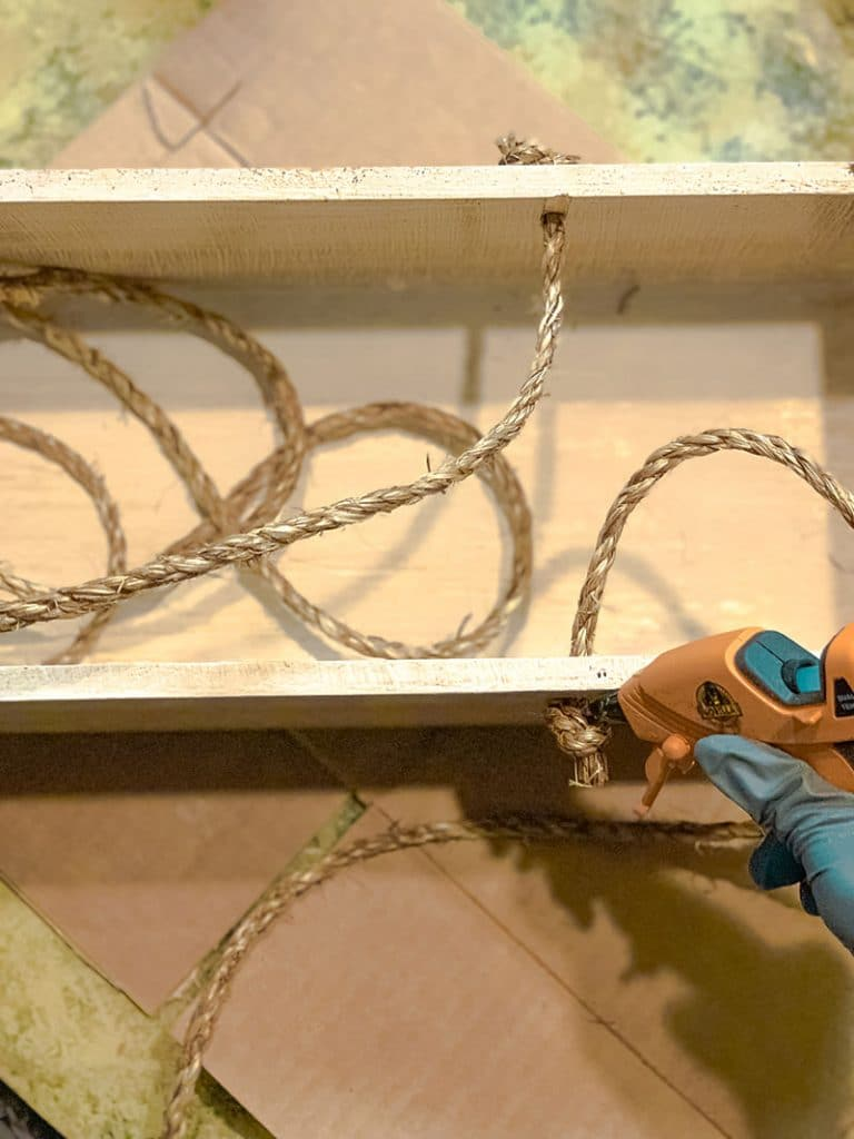 gluing the rope knots to hold them in place